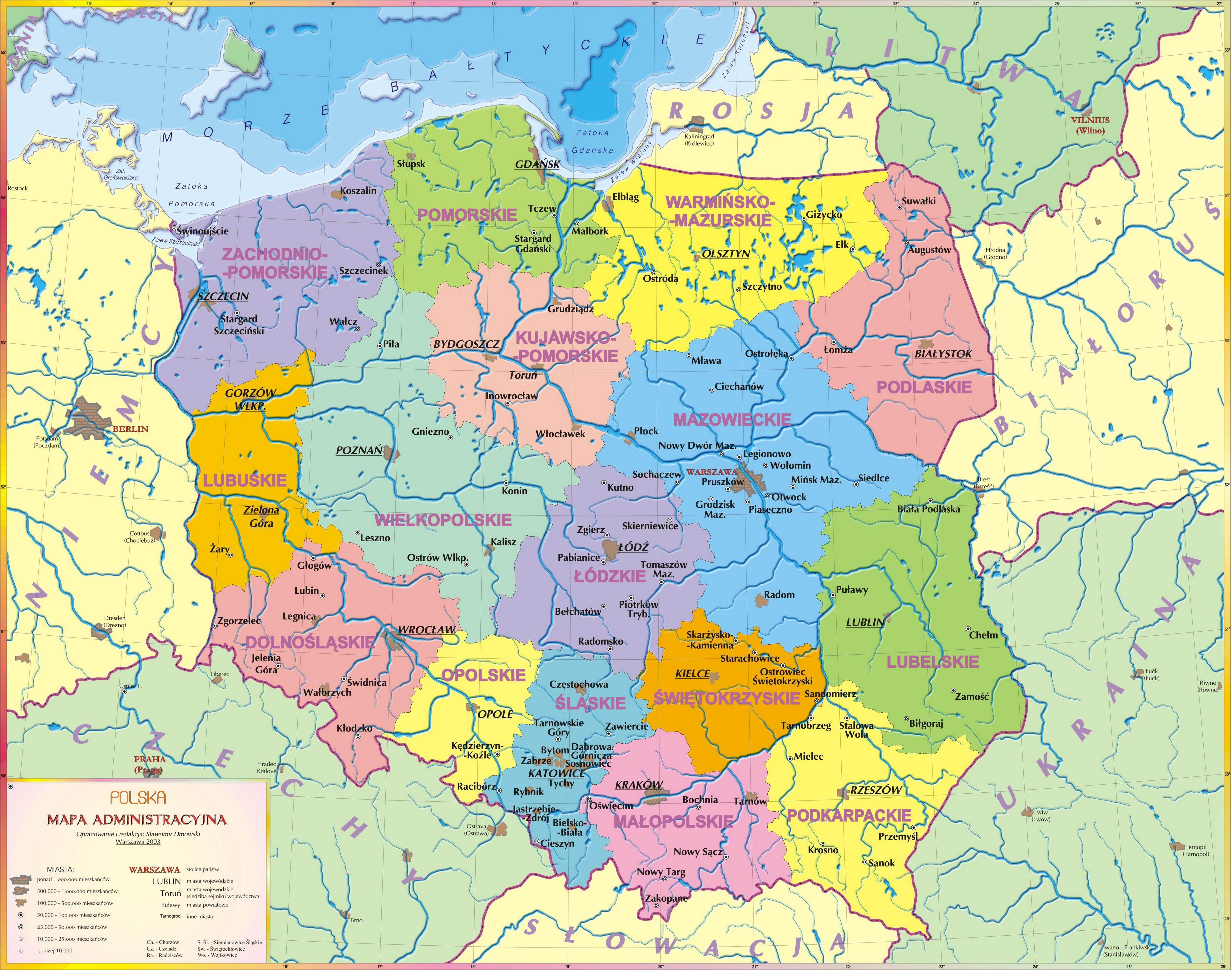 Mapa Administracyjna Polski Wojewodztwa I Ich Stolice Wazniejsze