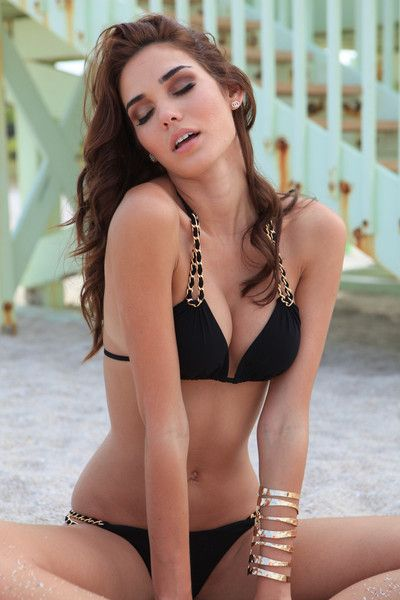 ac45fb53670ee Sauvage Swimwear 2015 Collection Mariposa Gold Chain Black Bikini Triangle  top has removable padding Bikini Top ties around the neck and back  Available in ...