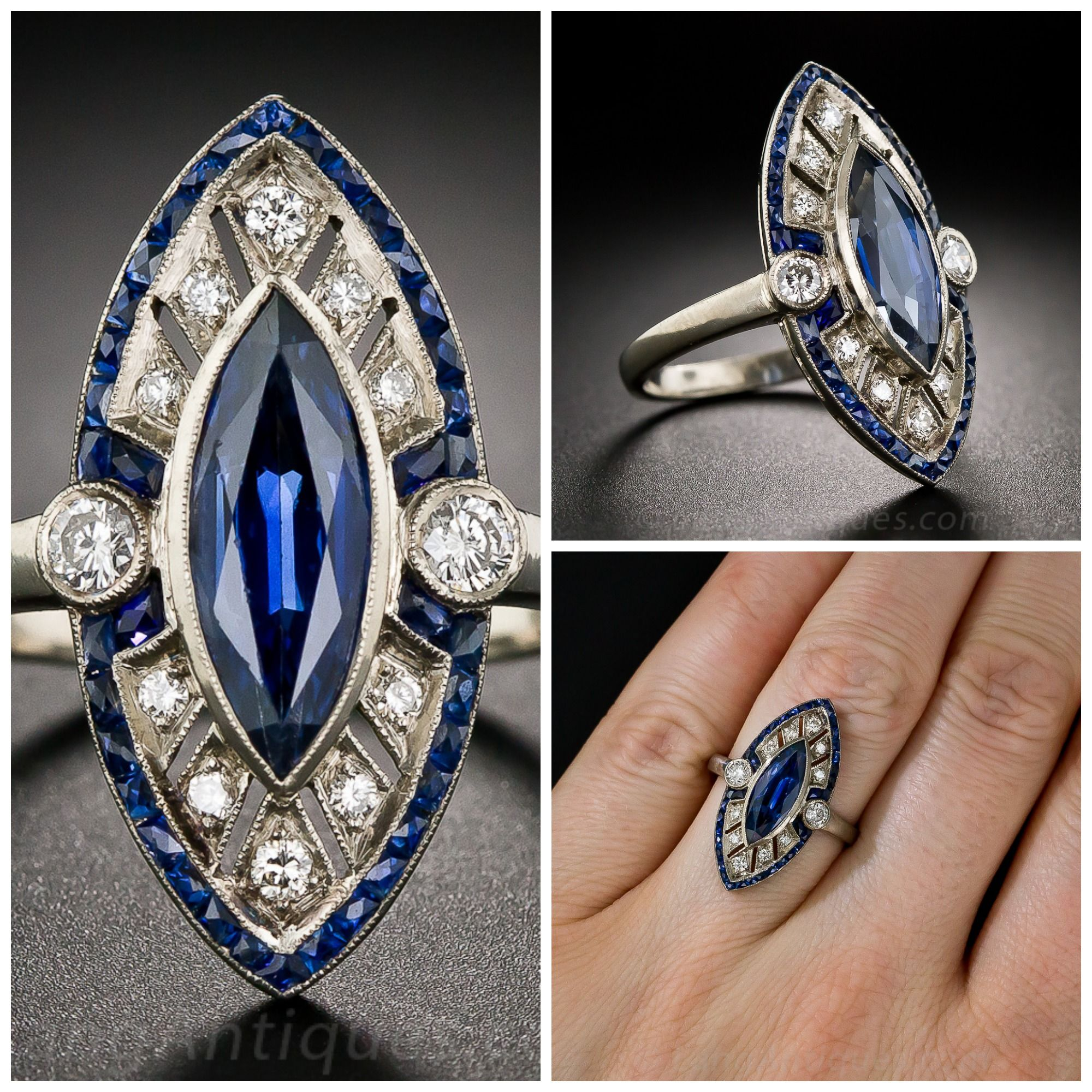 marquise dunay joaillier exceptional ring and dsc shape sapphire blue