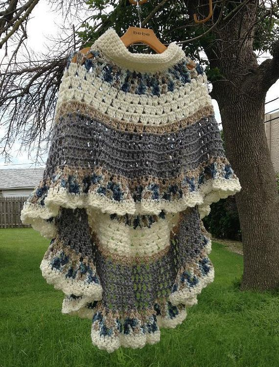 Circular Asymmetric Long Poncho Shawl Crochet Pattern PDF File Avant Garde Unbalanced Design Not a finished product It is a PDF Pattern #shawlcrochetpattern