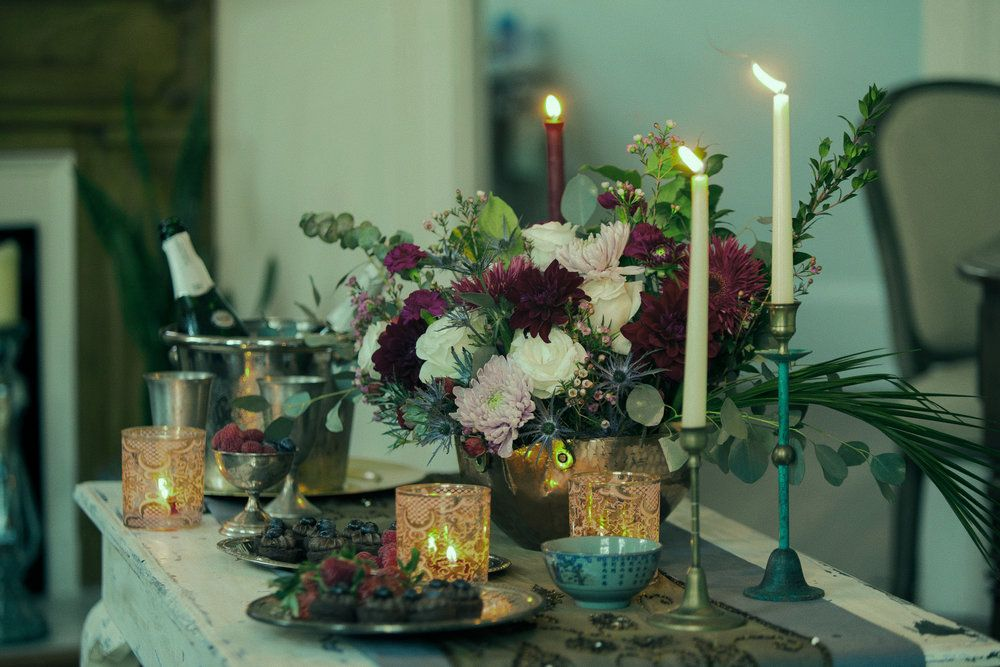 New Orleans Event & Wedding Design & Planning  HTNO Events: Muses Mardi Gras Cocktail Party flowers, candles, tables