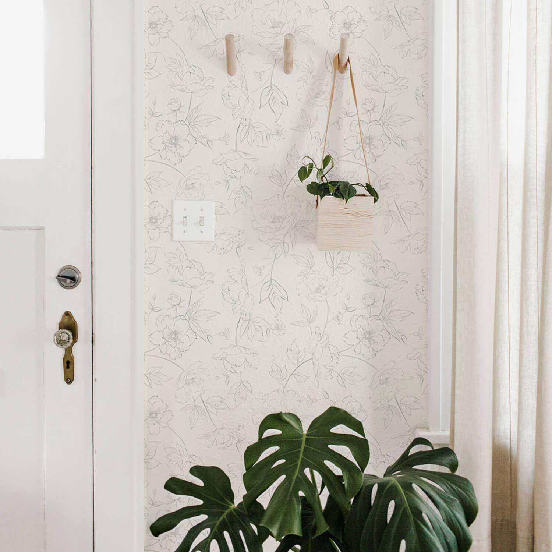 Subtle Floral Wallpaper Grey Floral Wallpaper Floral Wallpaper Removable Wallpaper
