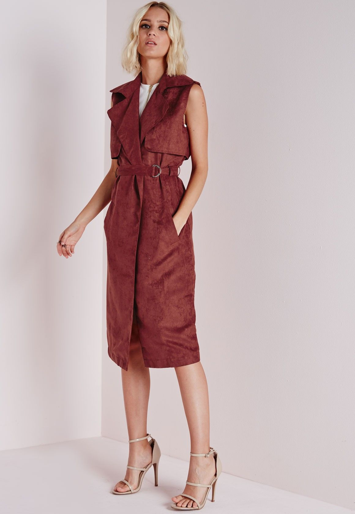 ca51e9034b3 Missguided - Faux Suede Sleeveless Belted Trench Coat Rust | Fall ...