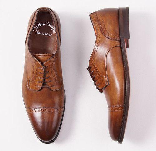 $995 Santoni Fatte A Mano Cap Toe Dress Shoes 9 D Antique Honey Brown | eBay