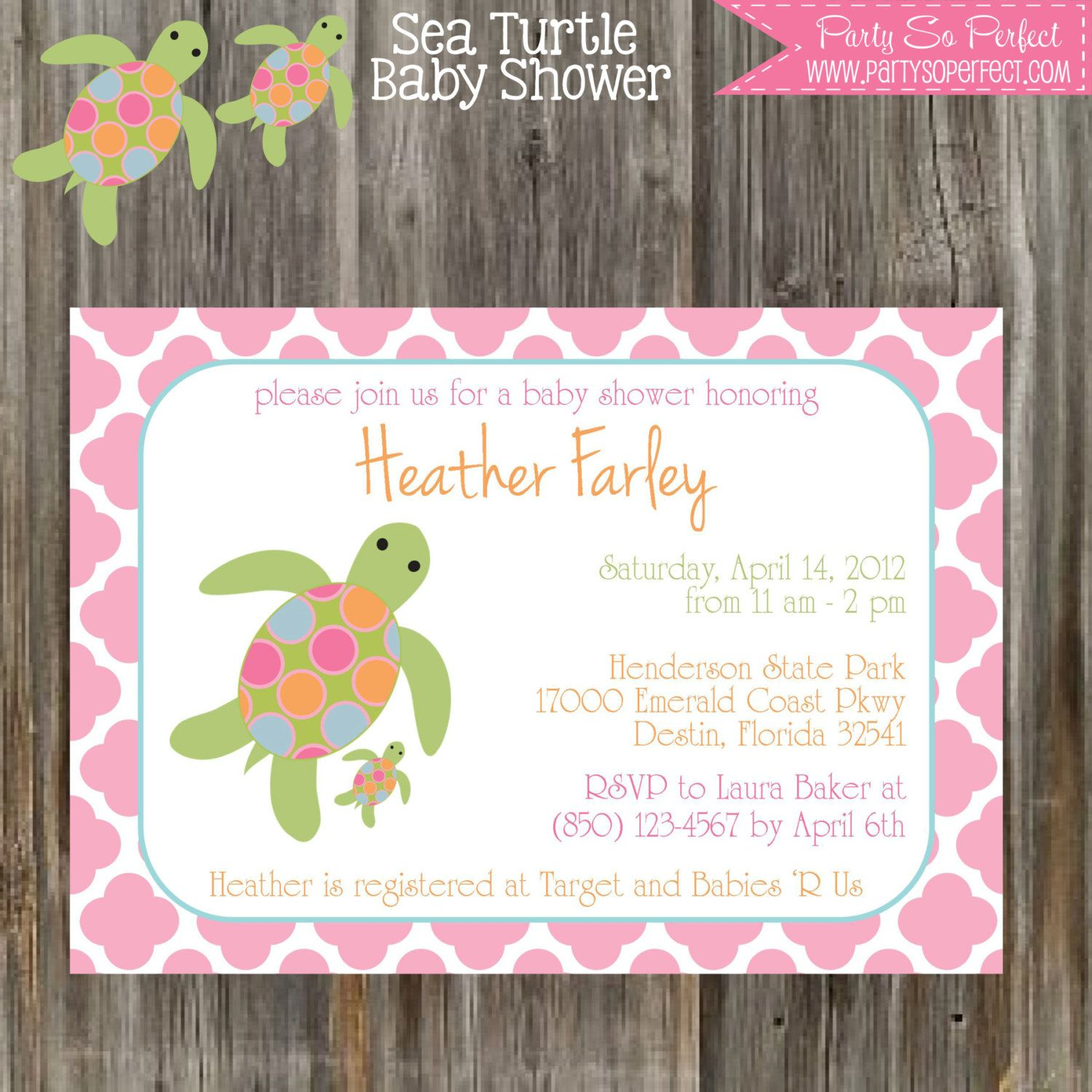 SEA TURTLE Baby Shower Invitation & Banner Package - Girl ...