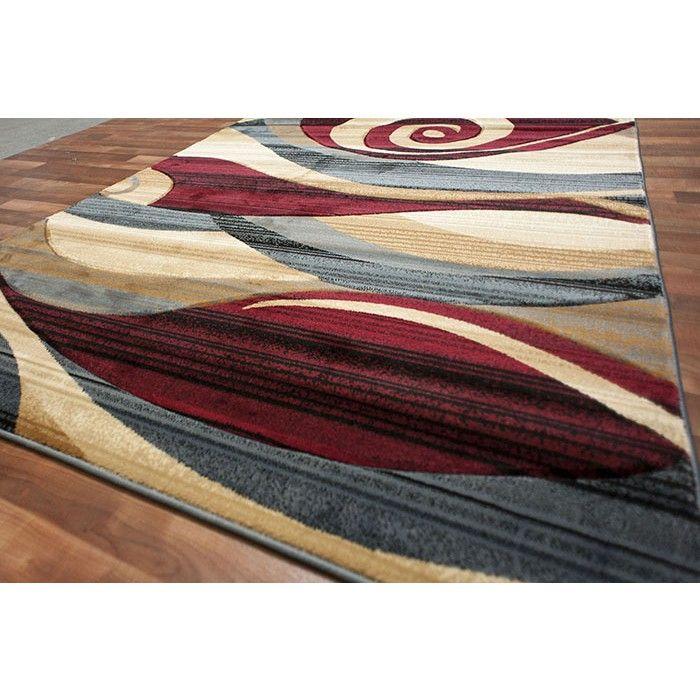 Modern Area Rug Red Beige Blue Brown Wave Swirls Living Room Color