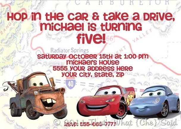 5th Birthday Invite Party ideas Pinterest Cars birthday