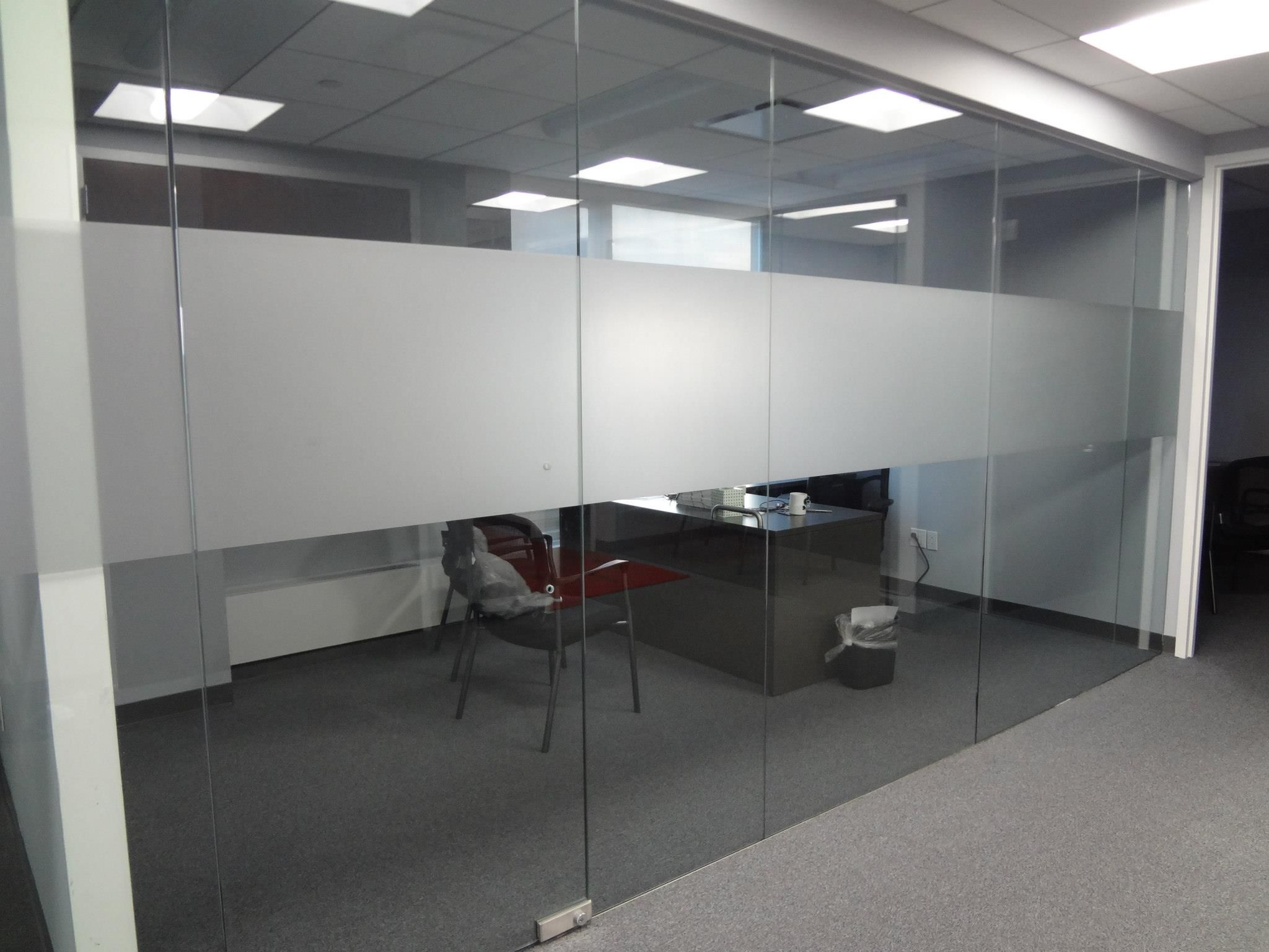 Frosted banding for office glass panels NYC - Frosted ...