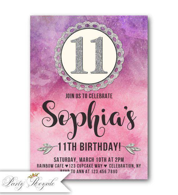 Watercolor Birthday Invitations 11th Invitation Girls Pink Purple And Silver Printable Print