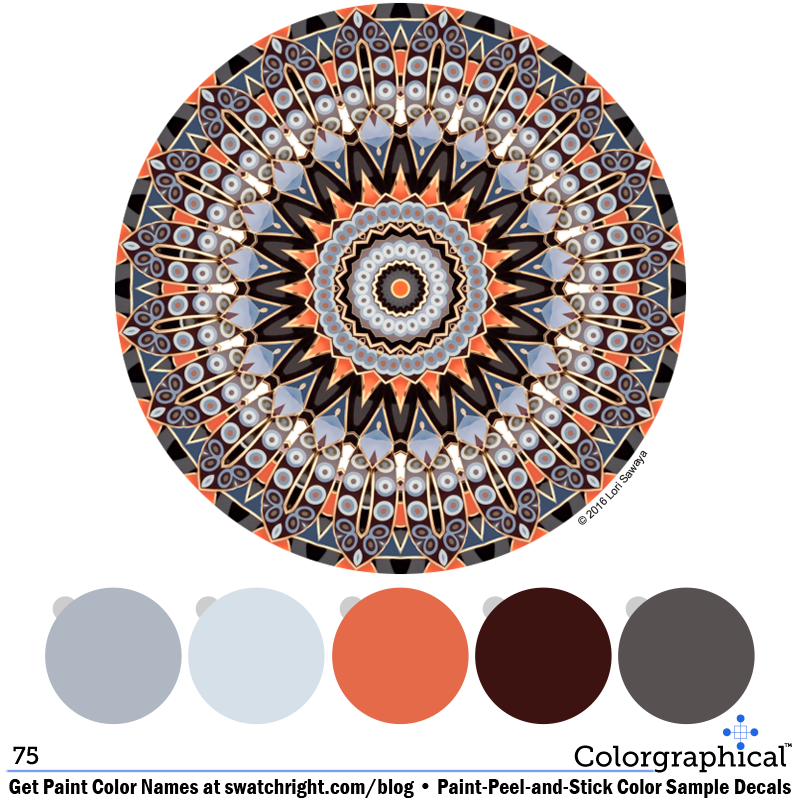 Color Inspiration 75 using #voiceofcolor #PPG #paint #color. Color schemes featured on paint-peel-and-stick color sample decals from Swatch Right™. www.swatchright.com #colorschemes #blue #orange #purple #gray #taupe #kaleidodala