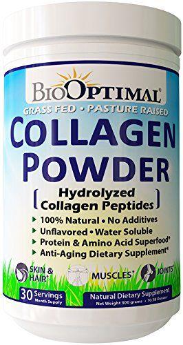 Biooptimal Collagen Powder Collagen Peptides Grass Fed 300 Grams Nongmo Premium Quality Hydrolyzed Collagen Collagen Powder Collagen Peptides Collagen Benefits
