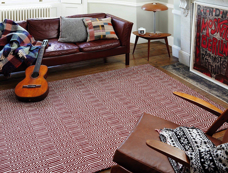 Teppich Wohnzimmer Carpet Modernes Design SLOAN STREIFEN RUG 55% Baumwolle  45% Wolle 120x170 Cm