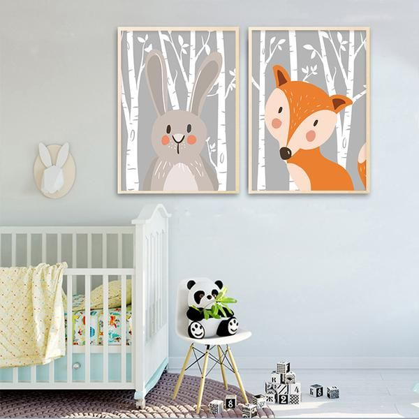 Rabbit, Fox and Bear Nursery Canvas Wall Art.  Order Today and Get Free Worldwide Shipping. #poster #print #art #wallart #artprint