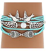 Multi-Strand Love Birds and Owls Bracelet