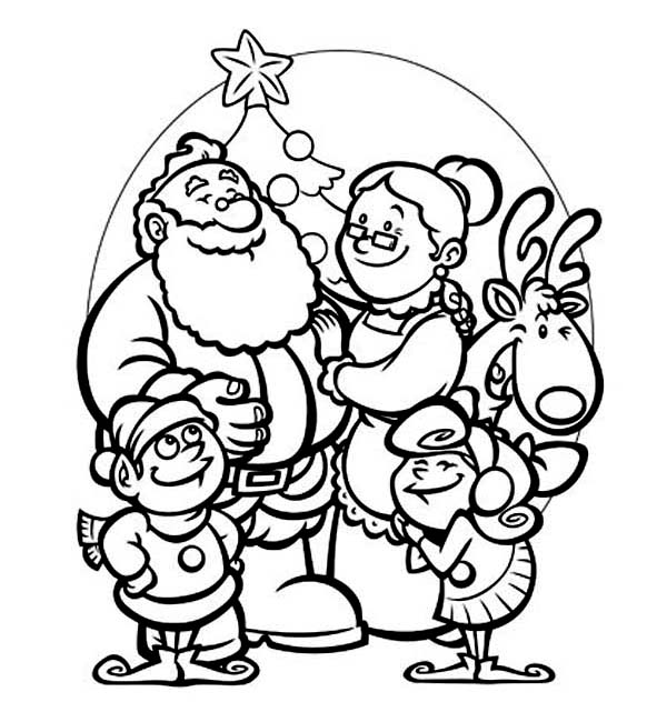 All Members Of Santa Clauss Family Celebrating Christmas On Christmas Coloring Page C Christmas Coloring Pages Family Coloring Pages Valentine Coloring Pages