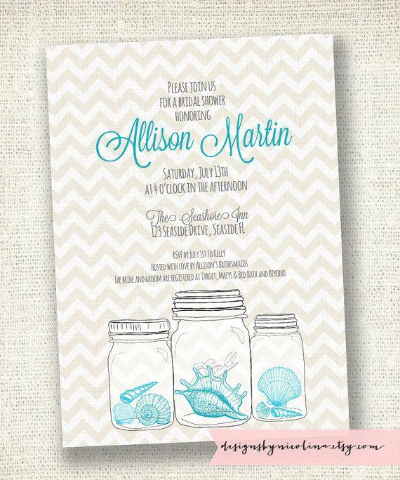 seashell mason jar bridal shower or baby shower beach theme printable invitation by designs by nicolina