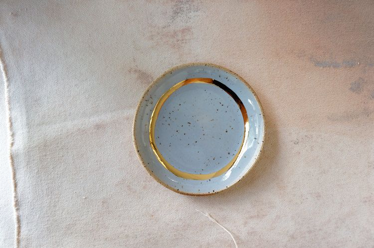 Jewelry dish Gray and gold ceramic ring dish Modern ceramics Porcelain ceramic jewelry dish. Gold ceramics The Object Enthusiast