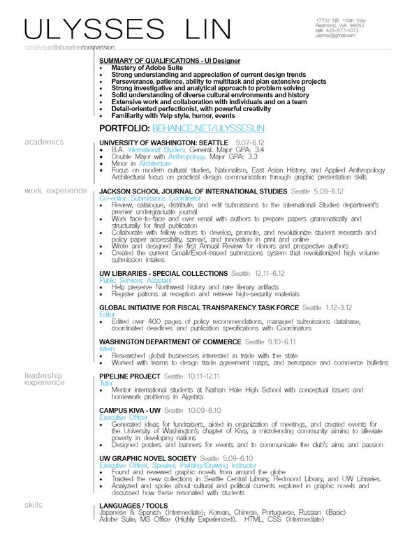 Ui Designer Resume Example Resumes Pinterest Resume