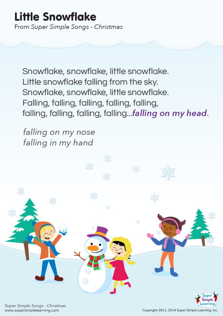 Little Snowflake Lyrics Poster Super Simple Snowflake Song Preschool Songs Preschool Christmas Songs