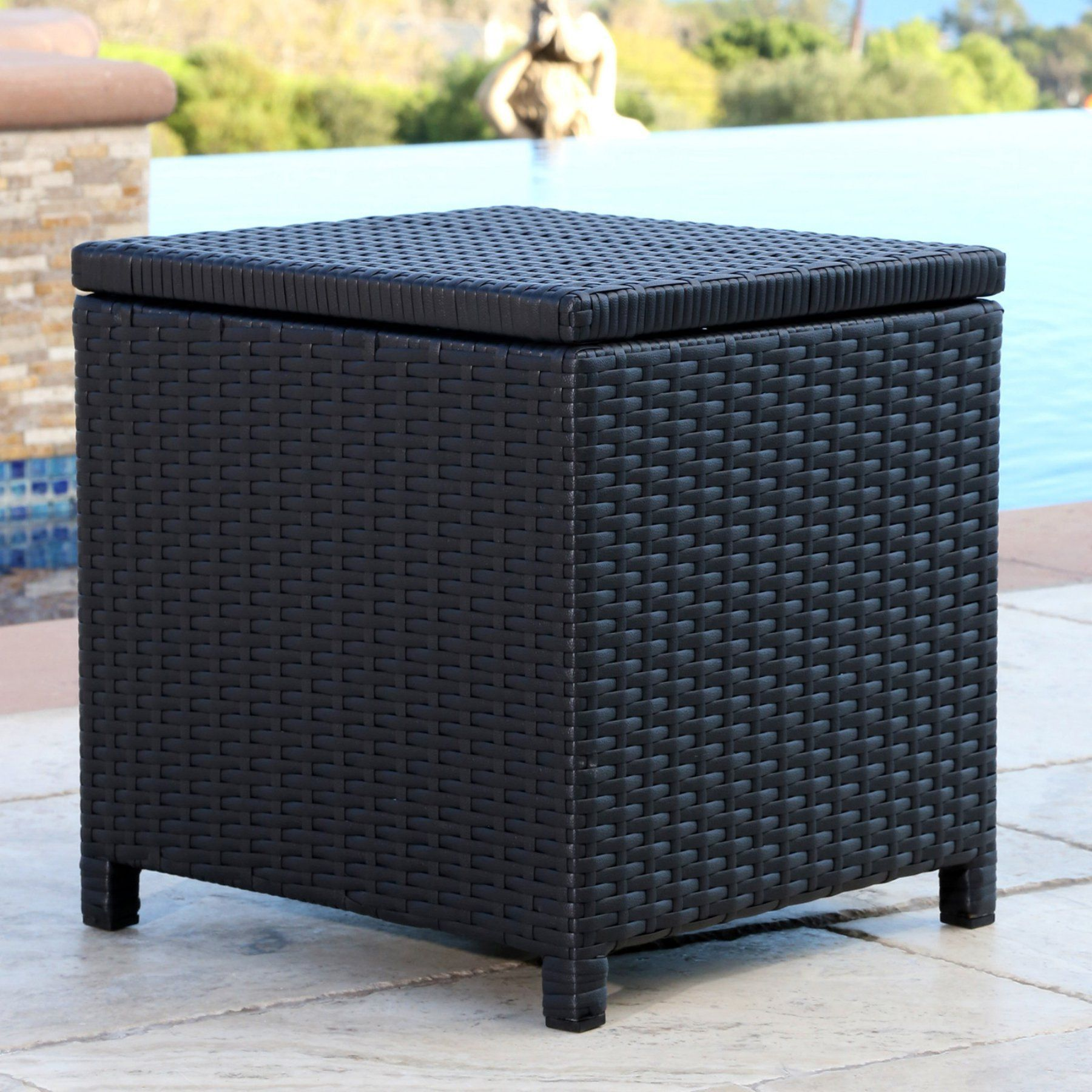 abbyson chase outdoor wicker storage ottoman products rh pinterest cl