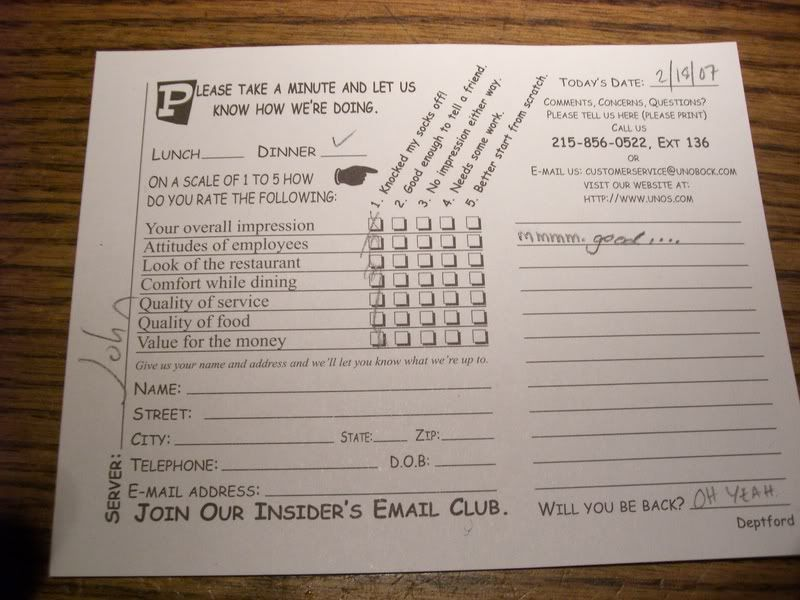Related to Restaurant Comment Card Restaurant
