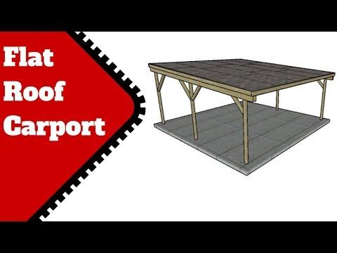 (38) Flat Roof Carport Plans YouTube in 2020 Carport