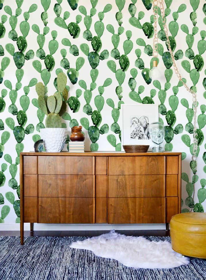 Selfadhesive Removable Cactus Wallpaper, Cacti wall mural