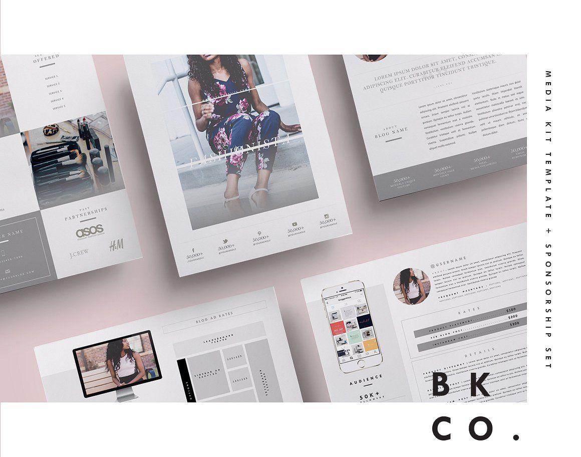 Social Media Kit Template Set | 6Pgs | Pinterest | Media kit ...