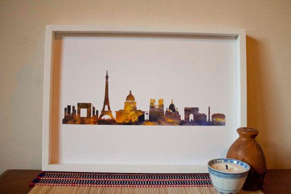 Paris skyline watercolour print by MultiverseDesignsNZ on Etsy