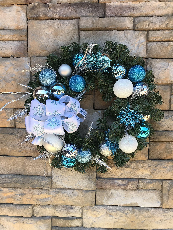 Blue Christmas Evergreen Wreath Blue Snowflake Holiday Decor Blue Snowflake Christmas Door Wreath Faux Evergreen Christmas Snowflake Wreath Evergreen Wreath Blue Christmas Christmas Door Decorations