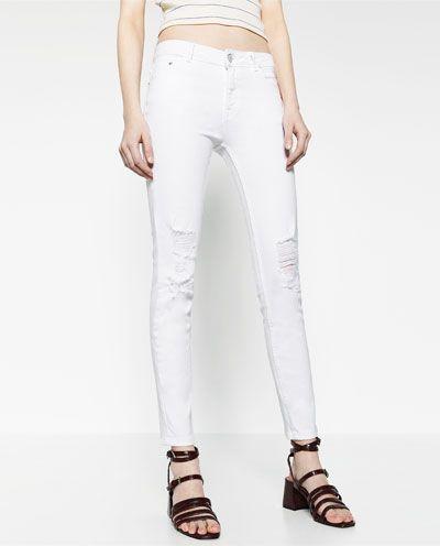 zara pantalon mujer vaquero blanco