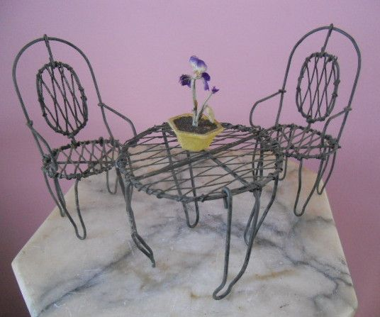 dollhouse outdoor furniture. Antique Wire Metal Miniature Dollhouse Garden Furniture Patio Set Outdoor C