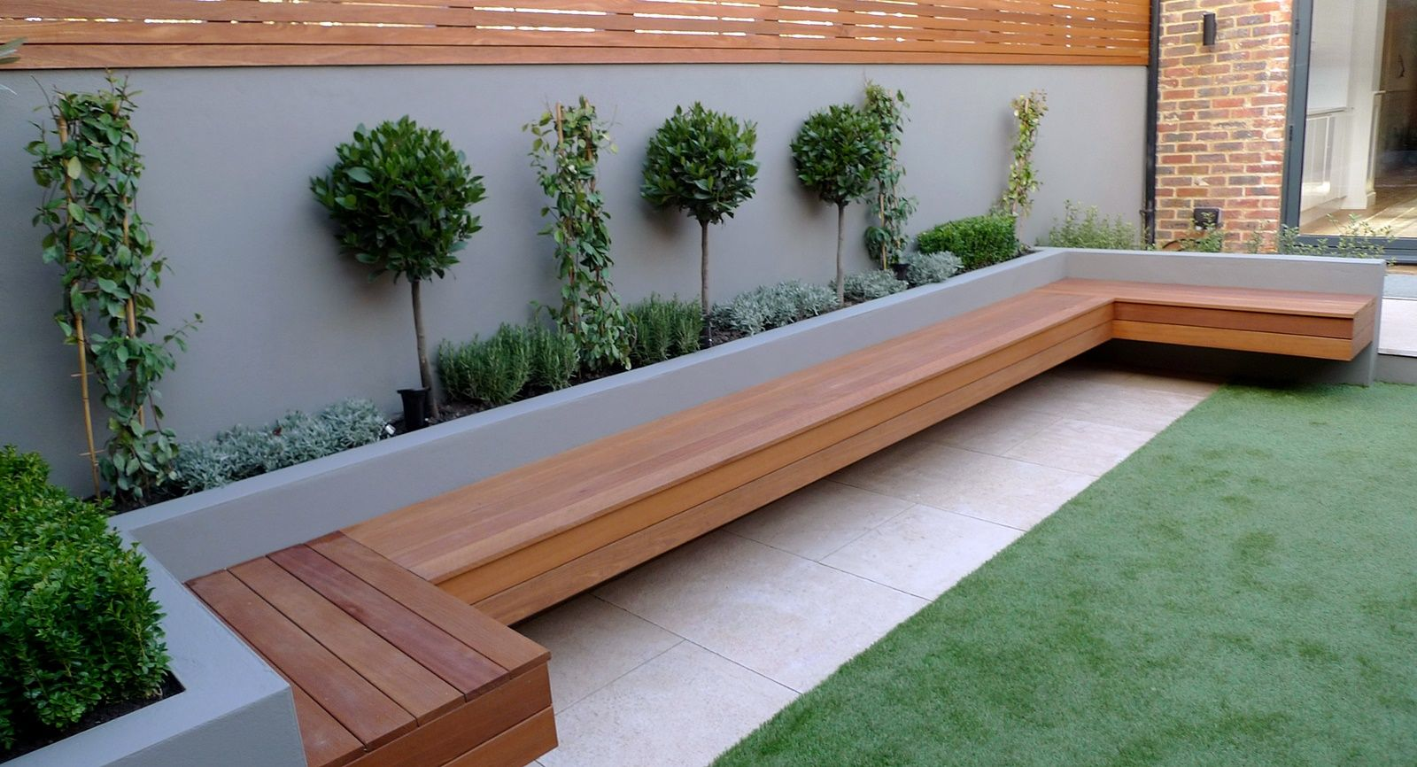Garden Design Artificial Grass modern garden designer london artificial grass hardwood seat