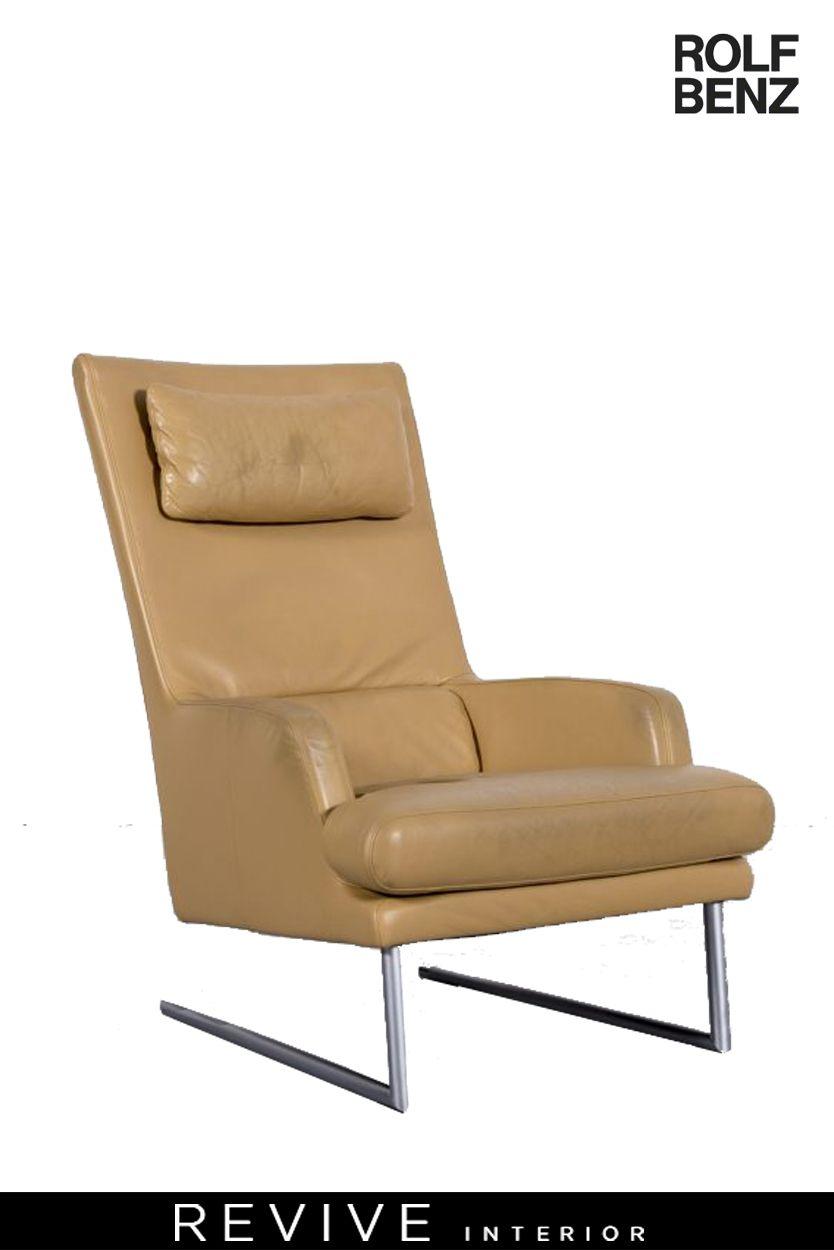 Rolf Benz Designer Leder Sessel Gelb Beige Echtleder Stuhl 6148