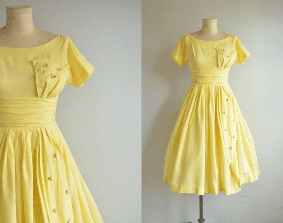 Vestido Vintage De Los Anos 1950 Anos 50 Amarillo Apliques Vintage 1950s Dresses Summer Party Dress 50s Dresses
