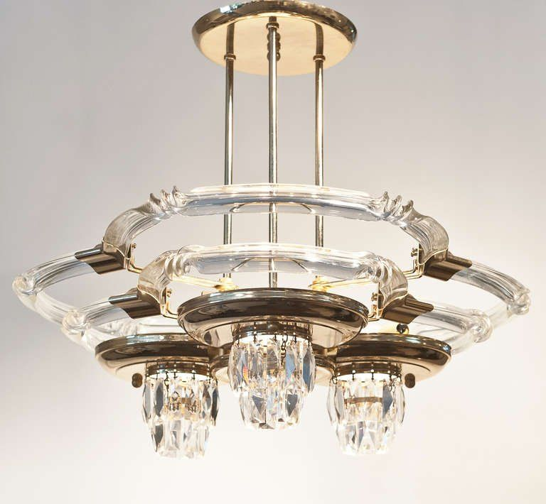 Italian Vintage Glass And Brass Ceiling Fixture At 1stdibs