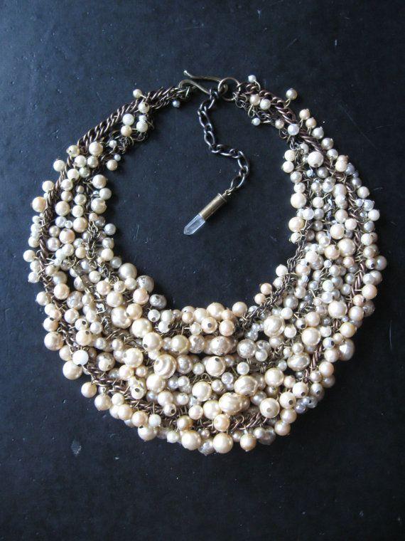 Pearl Bib Statement Necklace - Ivory Cream Ecru and Brass - Bridal Necklace - Mermaid Farts