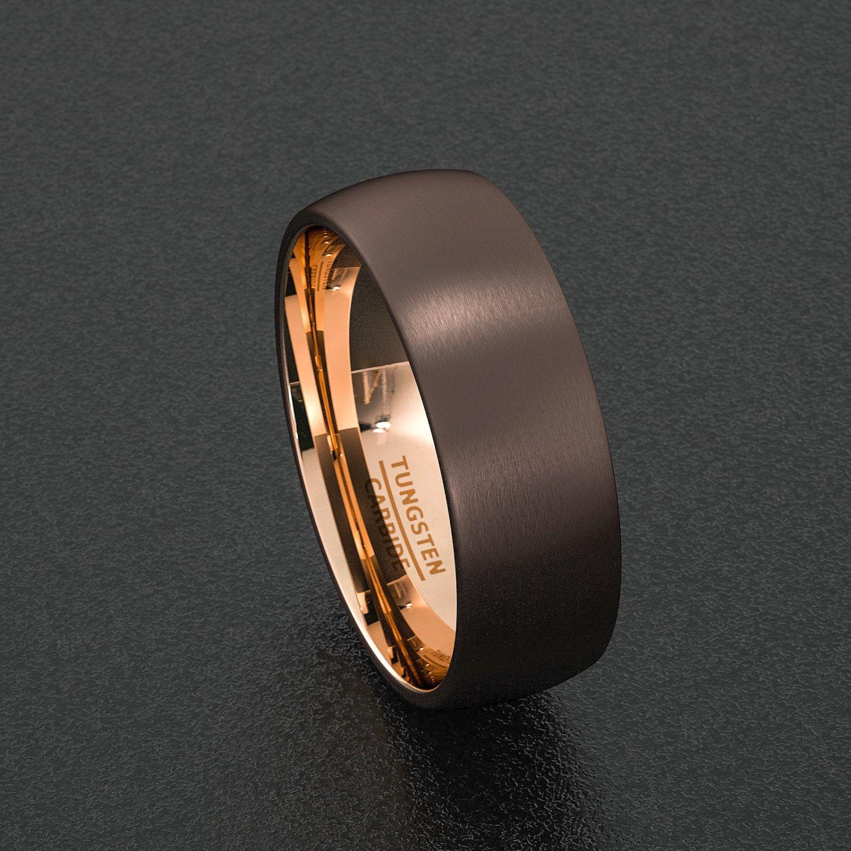 Mens Wedding Band Rare 8mm Dark Espresso Collection Brown Tungsten Et 288379573 13