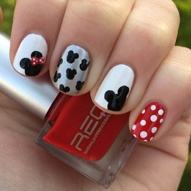 Simple Mickey and Minnie Nail Design - 21 Super Cute Disney Nail Art Designs Disney Nails, Disney Nails