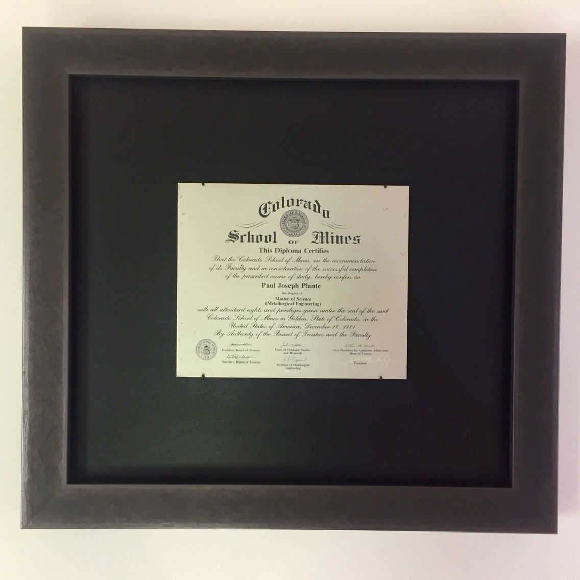 Metallurgical diploma framed with formed rod mounts and Larson Juhl ...
