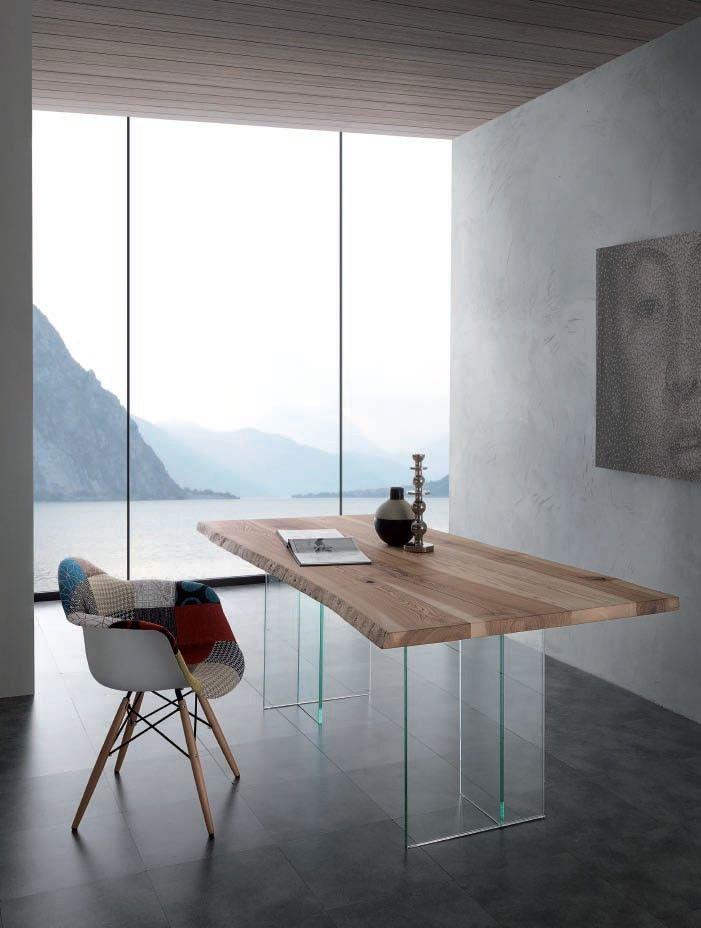 Table de salle à manger rectangulaire en bois et verre TREEVE, Table