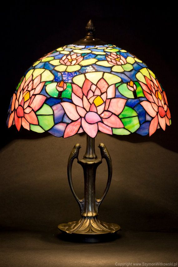 Stained glass art stained glass table lamp stained glass shade stained glass water lily lamp tiffany lampshade by wpworkshop mozeypictures Choice Image