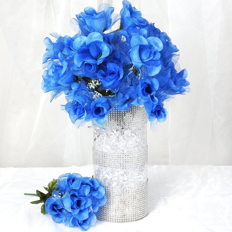 wedding centerpieces fake flowers%0A BalsaCircle     Organza Rose Silk Buds Wedding Flowers Bouquets Centerpieces   Royal Blue  u   e u   e u   e