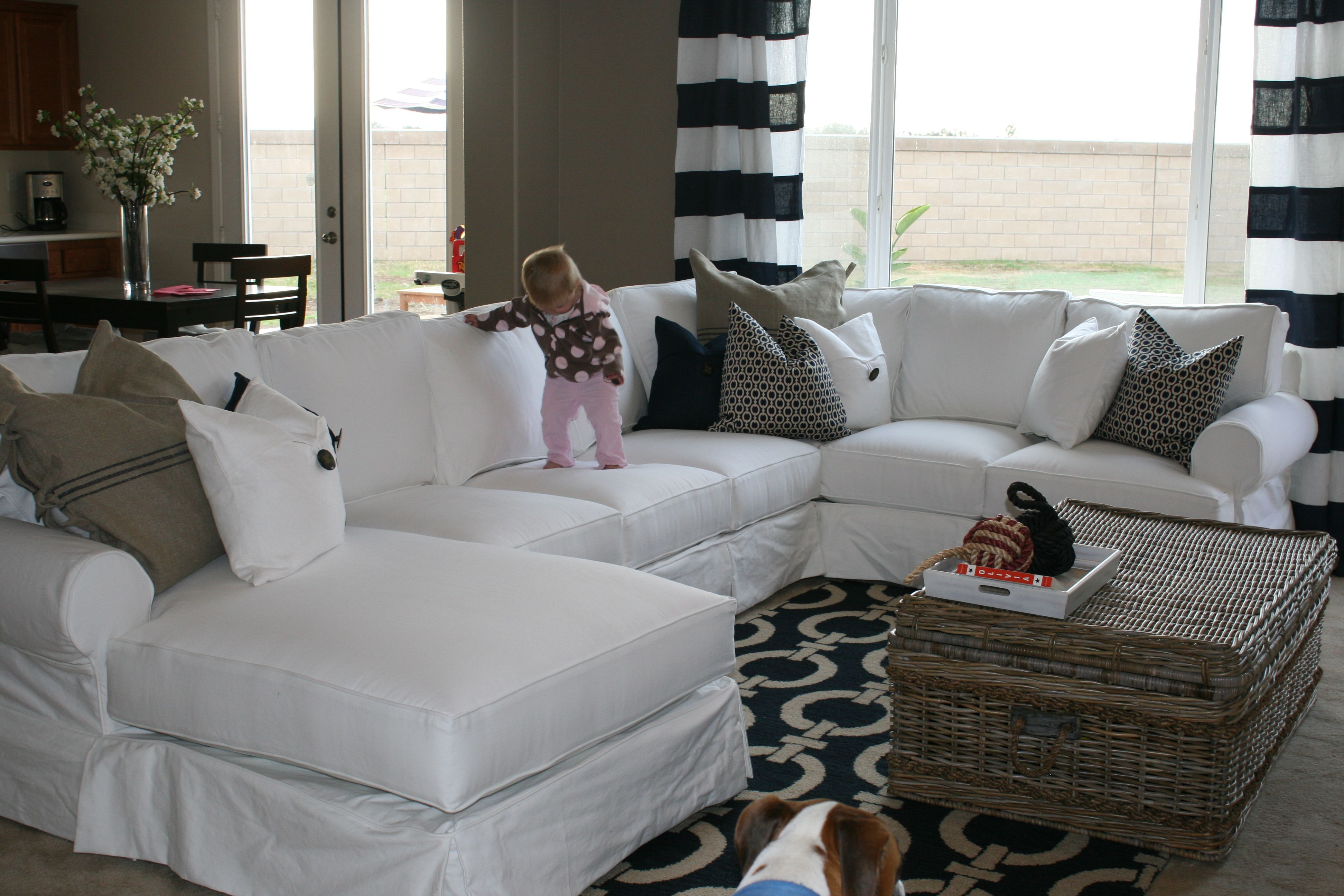 White Slipcovered Sectional Sectional Sofa Slipcovers