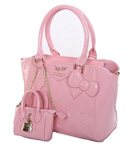 248deb806e Buenocn Women Hello Kitty Top Handle Bag Bow Decorated Pu Leather Handbag  Shy536 (pink)
