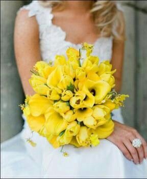 All Yellow Bridal Bouquet: Tulips, Calla Lilies + Oncidium Orchids