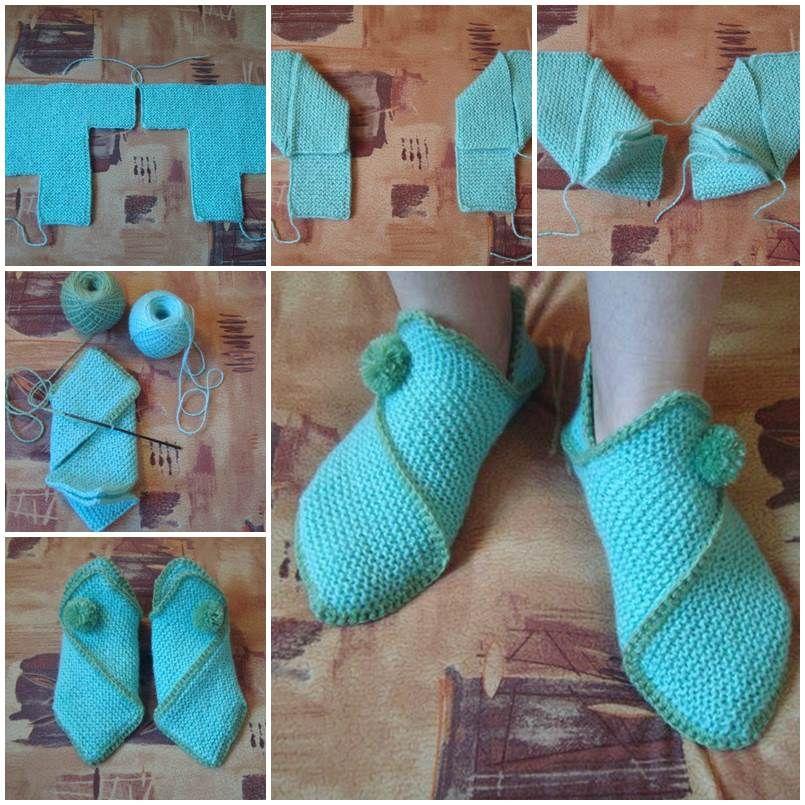 DIY Pretty Knitted Home Slippers | Häkelanleitung, Basteln und ...