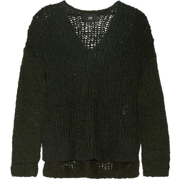 Line - Carlyle Open-knit Alpaca-blend Sweater (€135) ❤ liked on Polyvore featuring tops, sweaters, emerald, long sweaters, wrap top, long striped sweater, open knit top and striped knitwear