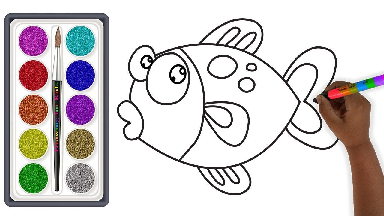Glitter Cute Fish Coloring And Drawing For Kids Vẽ Va To Mau Ca Aysh Drawing For Kids Cute Fish Drawings