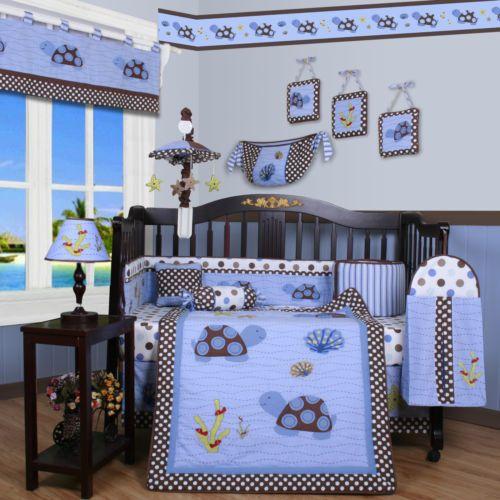 Blue Brown Turtle 13 Pcs Crib Bedding Set Baby Boy Nursery Quilt Bumper Diaper Decoracion Cuarto Bebe Cuarto De Bebe Decoracion De Dormitorio Para Hombres